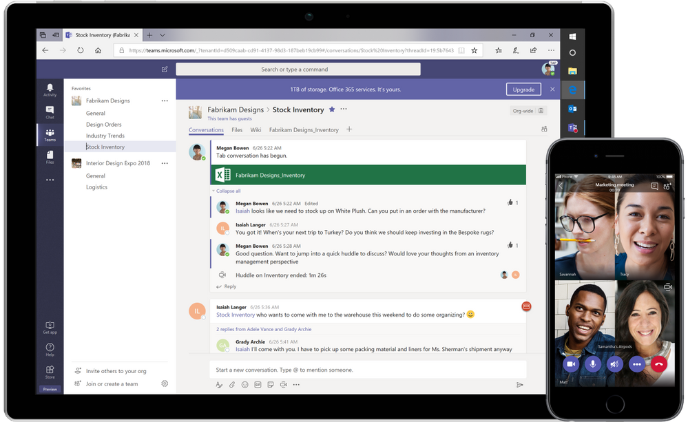 Microsoft Teams app on laptop and mobile phone
