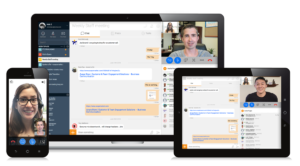 Avaya Spaces workstream collaboration solutions on a mobile phone, tablet and laptop